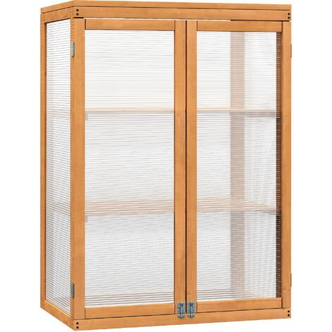Outsunny 2 Shelves Wooden Cold Frame Grow House Greenhouse Outdoor Plant Storage
