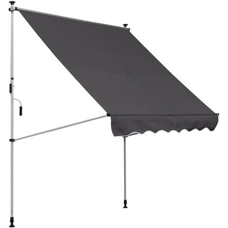 Outsunny 200 x 150cm Manual Awning Adjustable Floor-To-Ceiling Shade Grey