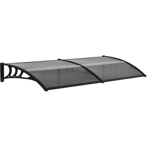 Outsunny 200cm Double Door Window Canopy Rain Shelter Cover Protector Black