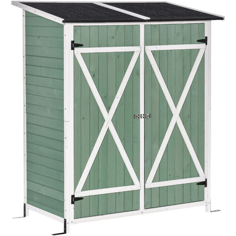 """main image of """"Outsunny 2.2x4.1ft Wooden Garden Storage Shed Compact w/ Table Asphalt Roof Green"""""""