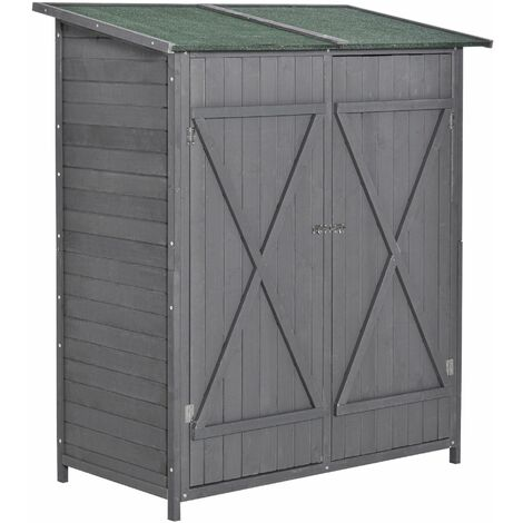 """main image of """"Outsunny 2.2x4.1ft Wooden Garden Storage Shed Compact w/ Table Asphalt Roof Grey"""""""