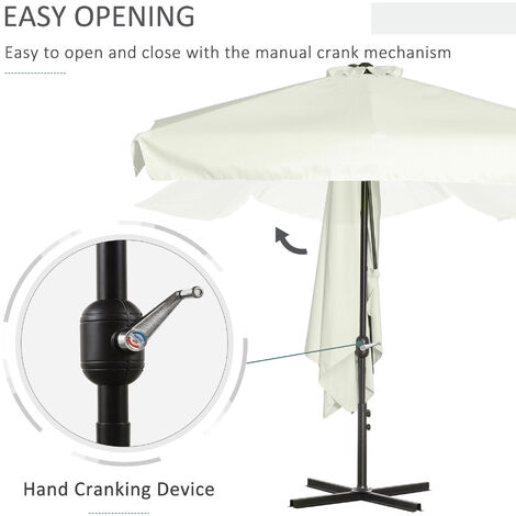 Outsunny 2.3m Half-Cut Parasol Garden Sun Umbrella w/ Crank Handle Cream