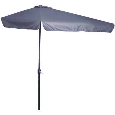 Outsunny 2.3m Half-Cut Parasol Garden Sun Umbrella w/ Crank Handle Grey