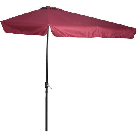 Outsunny 2.3m Half-Cut Parasol Garden Sun Umbrella w/ Crank Handle Red