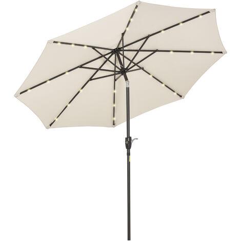 Outsunny 2.3m Solar-Powered LED Light Garden Parasol Umbrella Outdoor Shade White