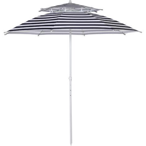 Outsunny 240cm Asjustable Height Beach Umbrella Sun Shade w/ Top Vent Blue Stripe