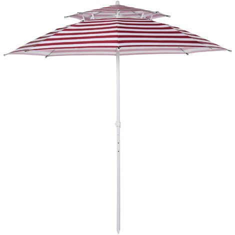 Outsunny 240cm Asjustable Height Beach Umbrella Sun Shade w/ Top Vent Red Stripe