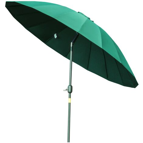 Outsunny 2.4m Round Curved Adjustable Parasol Outdoor Umbrella Metal Pole Green