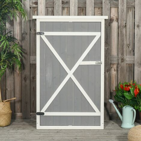 Outsunny 2.4x1.8FT Wooden Garden Storage Shed Tool Cabinet House w/ Shelves