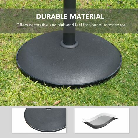 Outsunny 25kgs Round Umbrella Base Concrete Parasol Weight Stand Black D50cm