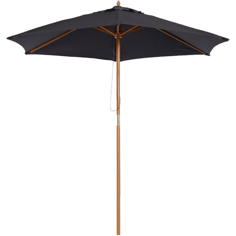 Outsunny 2.5m Wooden Garden Parasol Sunshade Outdoor Umbrella - Black