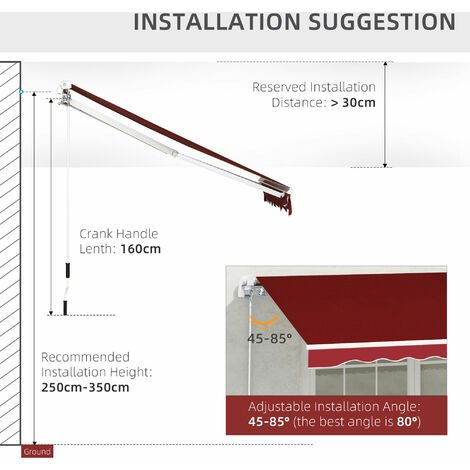 Outsunny 2.5x2m Manual Retractable Patio Awning Outdoor Sun Shade Dark Red