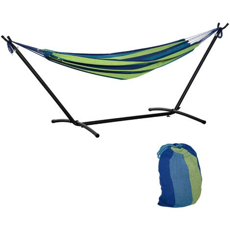 Outsunny 277 x 121cm Hammock w/ Metal Stand Carry Bag Garden Lounge Green Stripe