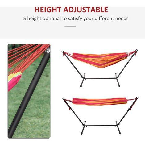 Outsunny 277 x 121cm Hammock w/ Metal Stand Carry Bag Garden Lounge Red Stripe