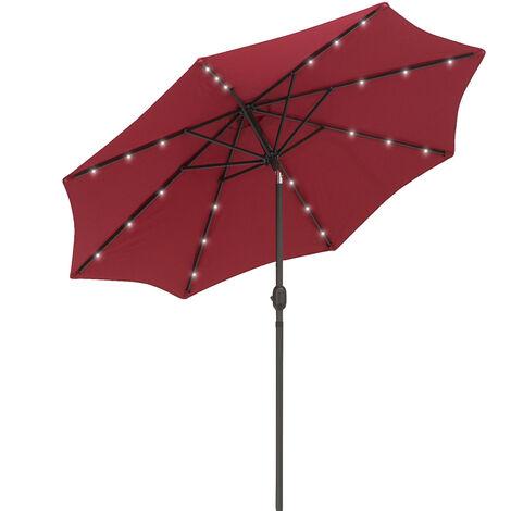 Outsunny 2.7m Garden Umbrella Outdoor Parasol with Hand Crank w/ 24 LEDs Lights