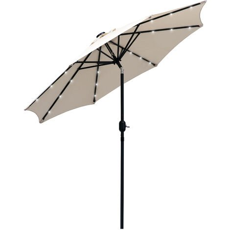 Outsunny 2.7m Garden Umbrella Outdoor Parasol with Hand Crank w/ 24 LEDs Lights