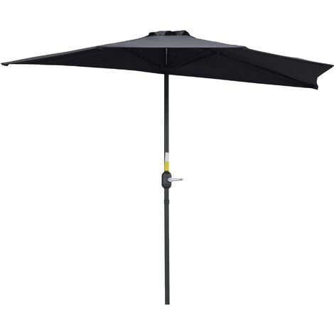 Outsunny 2.7m Half-Cut Outdoor Parasol Umbrella Compact Balcony Sun Shade