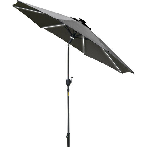 Outsunny 2.7m LED Light & Lamp Garden Parasol Patio Sun Umbrella Shield Grey