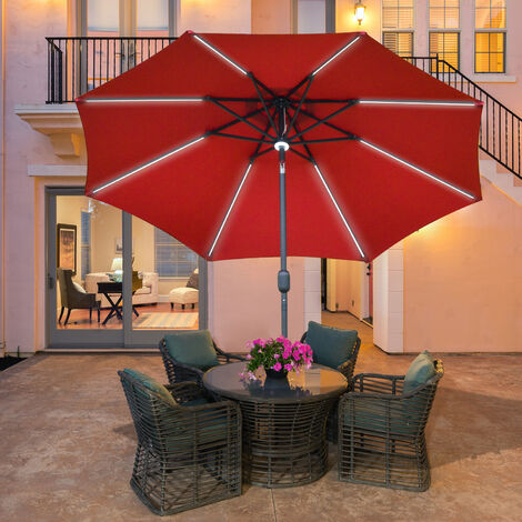 Outsunny 2.7m LED Light & Lamp Garden Parasol Patio Sun Umbrella Shield Red