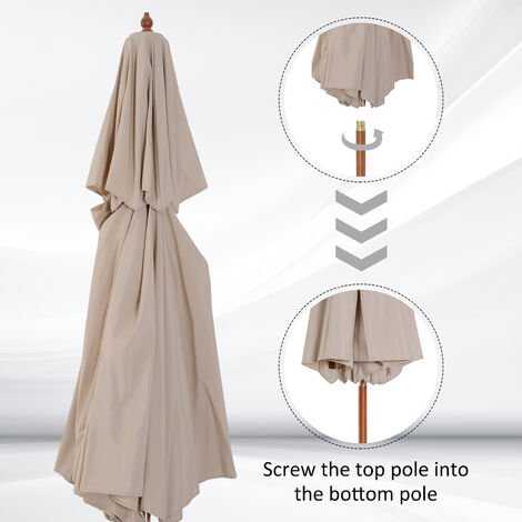 Outsunny 2.7m Patio Garden Sun Umbrella Sunshade Outdoor Wood Wooden Parasol Canopy Double Tier