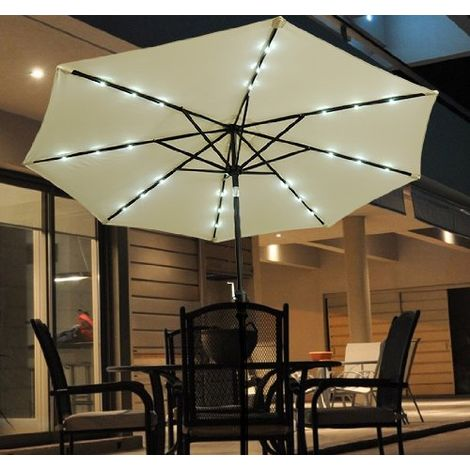 Outsunny 2.7m Patio Garden Umbrella Outdoor Parasol with Crank and 38mm Aluminum Tilt Pole w/ 24 LEDs Lights Cream