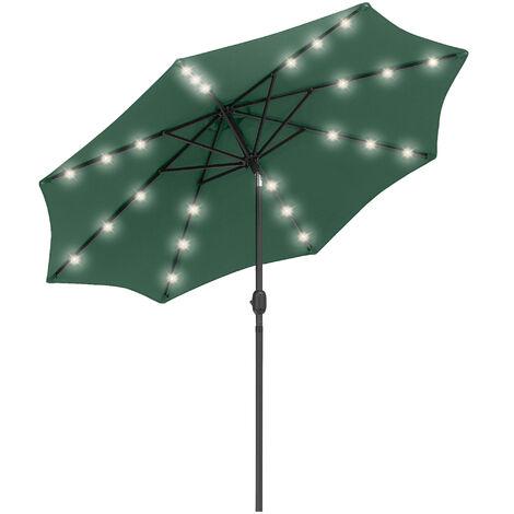 Outsunny 2.7m Patio LED Umbrella w/ Push Button Tilt/Crank 8 Ribs Sun Shade Green