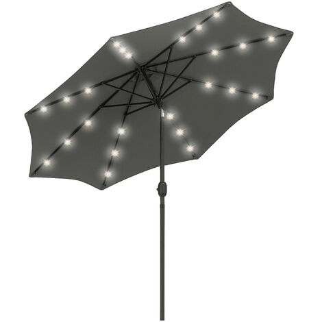 Outsunny 2.7m Patio LED Umbrella w/ Push Button Tilt/Crank 8 Ribs Sun Shade Grey