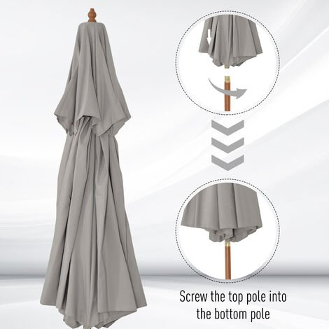 Outsunny 2.7m Wood Frame Garden Patio Parasol Sun Shade Outdoor Umbrella Grey