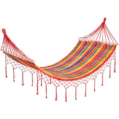Outsunny 290 x 100cm Rainbow Stripe Hammock Outdoor Indoor w/ Tassels