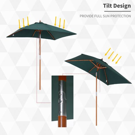 Outsunny 2m Elegant Parasol Solid Wood Pole Tilting Canopy Sun Shade Green