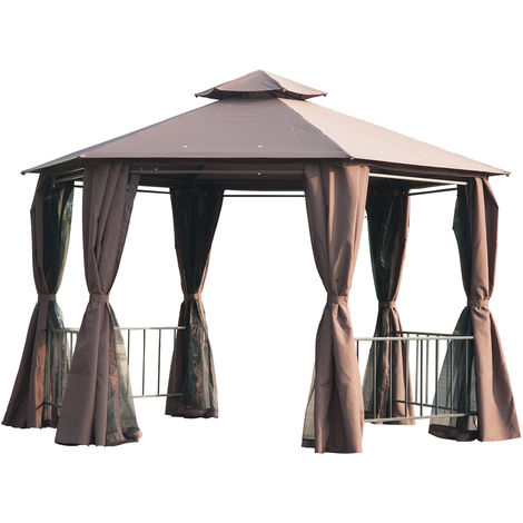 Outsunny 2m Hexagonal Gazebo Canopy Party Tent Garden Shelter 2 Tier Roof