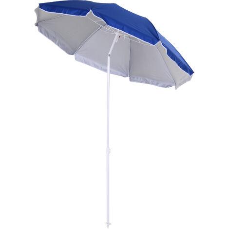 Outsunny 2m Tilting Beach Umbrella Sun Parosol Sun Shelter w/ Carry Bag Blue