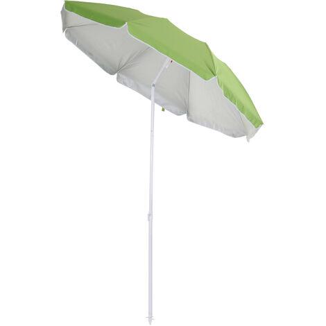 Outsunny 2m Tilting Beach Umbrella Sun Parosol Sun Shelter w/ Carry Bag Green