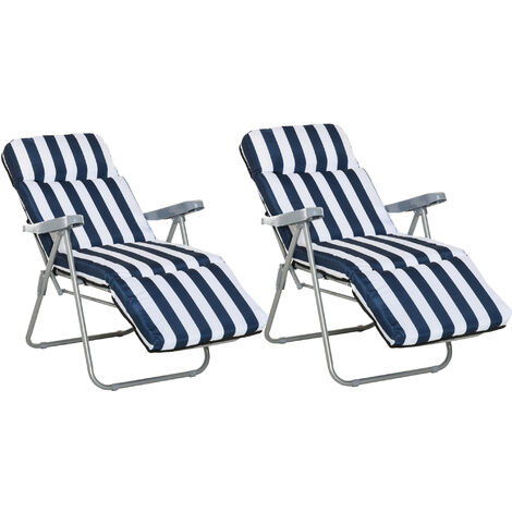 Outsunny 2pcs Folding Sun Loungers Recliners Adjustable