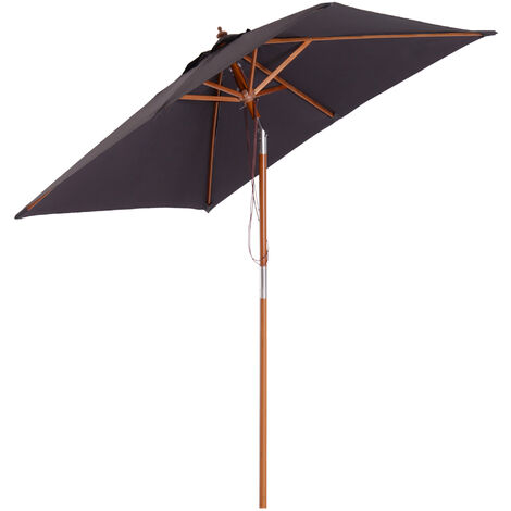 Outsunny 2x1.5m Wooden Patio Umbrella Market Parasol Outdoor Sunshade Deep Grey