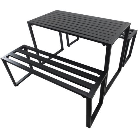 Stupendous Outsunny 3 Pc Metal Picnic Bench Table Set Patio Outdoor Pabps2019 Chair Design Images Pabps2019Com