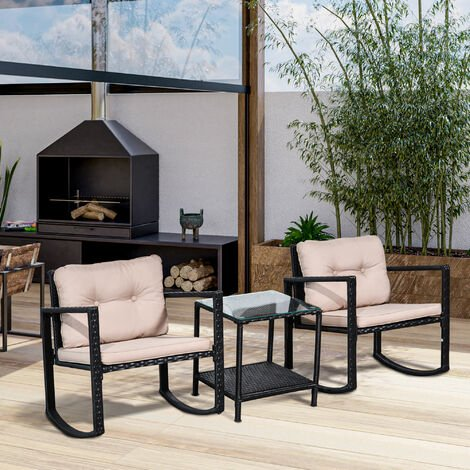 Outsunny 3 Pc Rattan Rocking Set Patio Table Chairs w/ Cushion Outdoor Garden