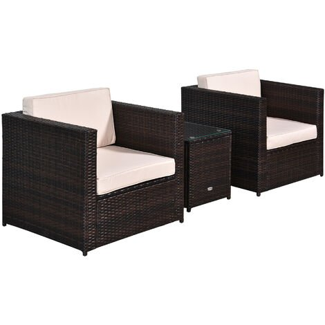 Outsunny 3 Pc Rattan Set Armchair Table Glass Top Garden Furniture Cushions Brown