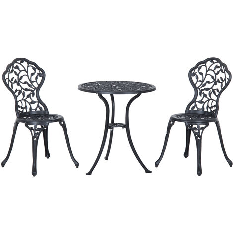 Outsunny 3 PCs Cast Aluminum Bistro Set Garden Furniture Dining Table Chairs Antique Outdoor Seat Patio Seater