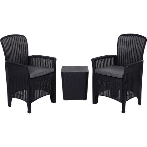 Outsunny 3 Pcs Faux Rattan Table Chair Set w/ Cushions Food Pads Garden Black