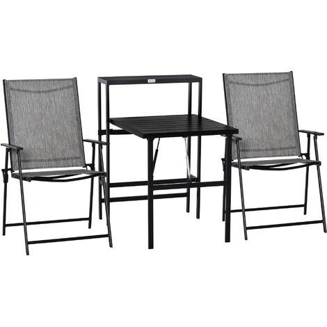 Outsunny 3 PCs Folding Garden Furniture Set w/ Table 2 Chairs Set Side Shelf