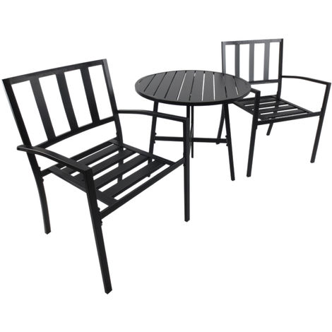 Outsunny 3 PCs Garden Bistro Set 2 Chair and Metal Coffee Dining Table Outdoor