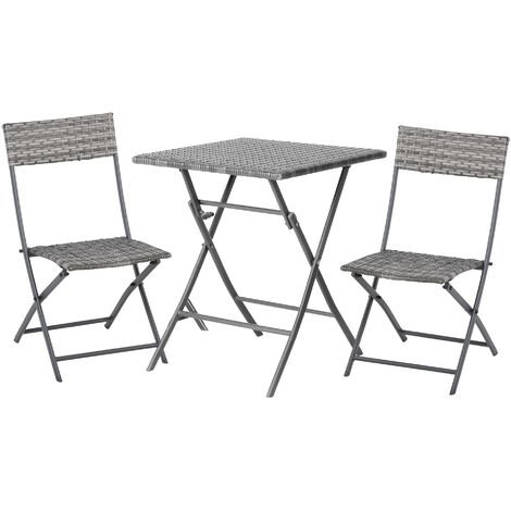 Outsunny 3 Pcs Metal & Rattan Frame Bistro Set w/ Table Chairs Garden Furniture