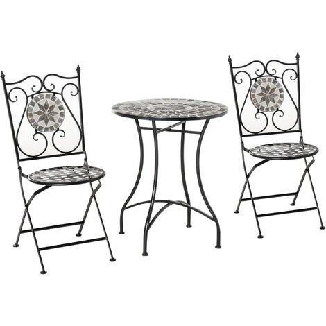 Outsunny 3 Pcs Mosaic Tile Garden Bistro Set Outdoor w/ Table 2 Folding Chairs
