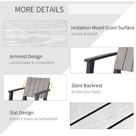 Outsunny 3 Pcs Patio Bistro Set Outdoor Garden Furniture Set w/ Table Chairs