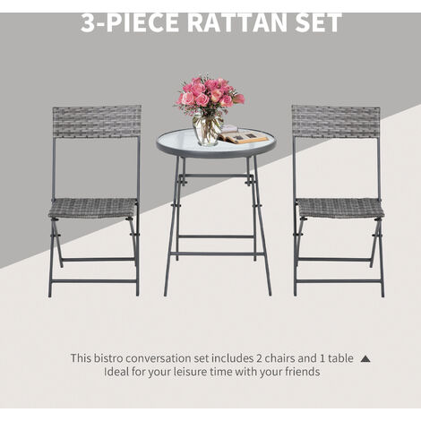 Outsunny 3 PCs Patio Wicker Bistro Set Foldable Table and Chair Set Outdoor