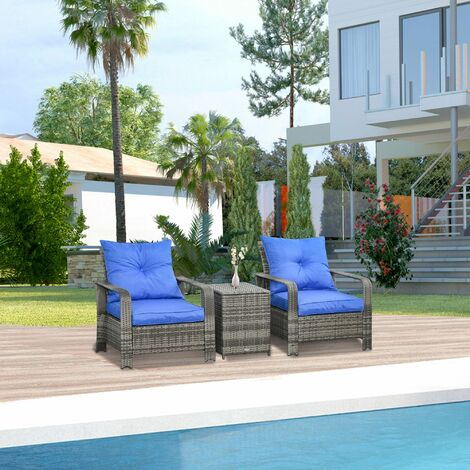 Outsunny 3 Pcs PE Rattan Garden Seating Set w/ 2 Chairs Storage Table Cushions Blue