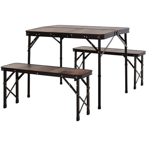 Outsunny 3 Pcs Picnic Table Set Aluminium Frame Wood Effect Outdoor Folding