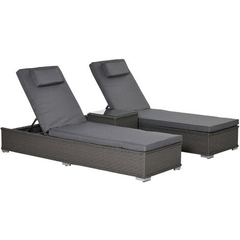 """main image of """"Outsunny 3 Pcs Rattan Lounger Glass Table Set Wicker w/ Cushions Outdoor Grey"""""""