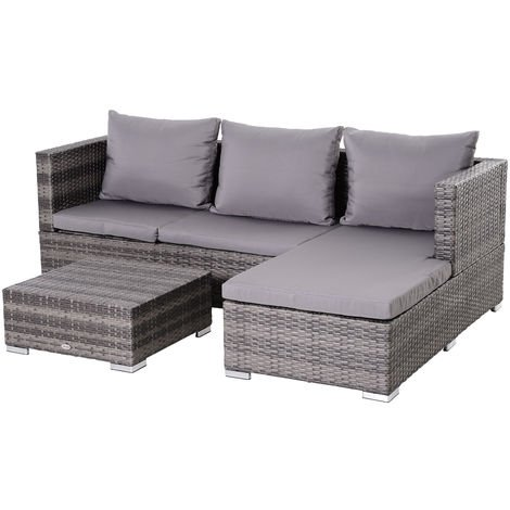 Outsunny 3 Pcs Rattan Sofa Set w/ Table Metal Frame Cushions Outdoor Lounge Grey